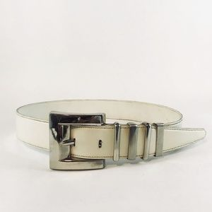 White Leather Belt with Cool Silver Buckle